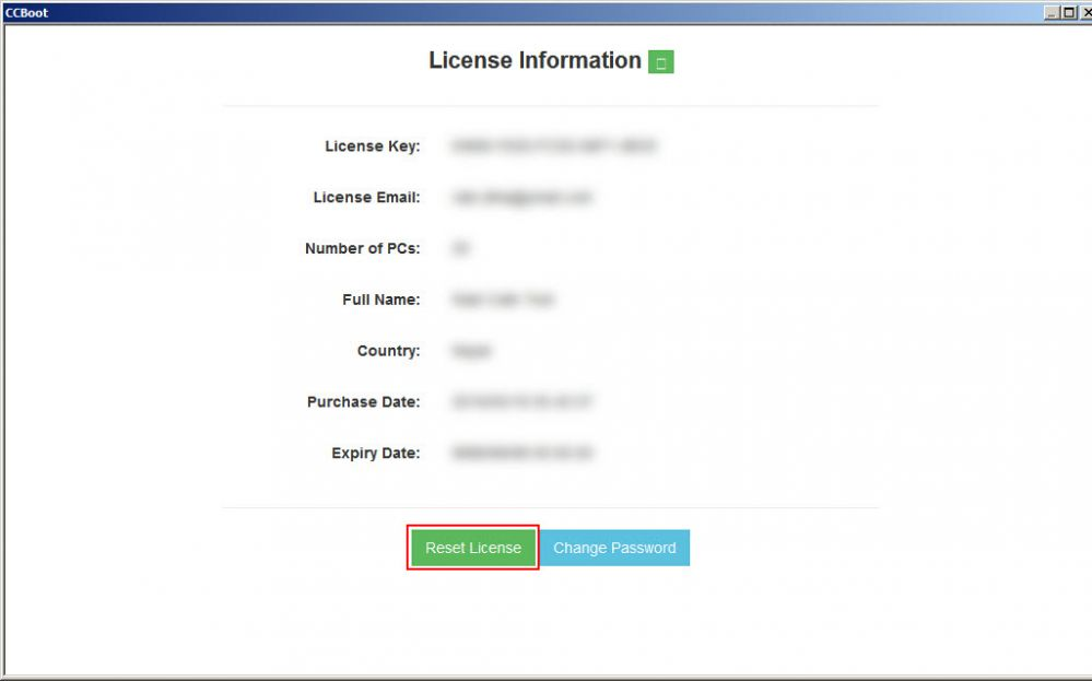 Reset license