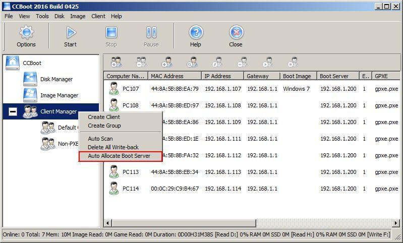 Auto Allocate Boot Server