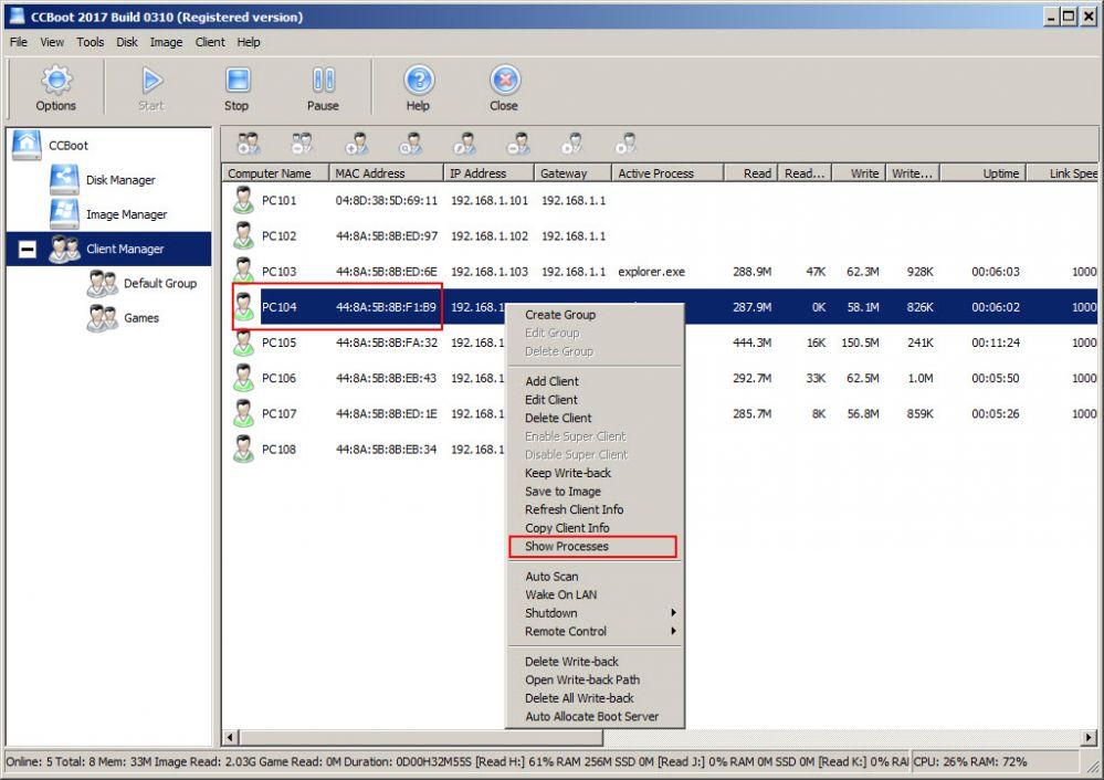 Show processes of client