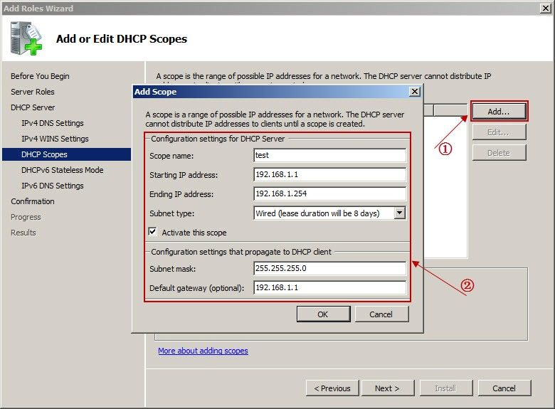 Add or DHCP Scopes
