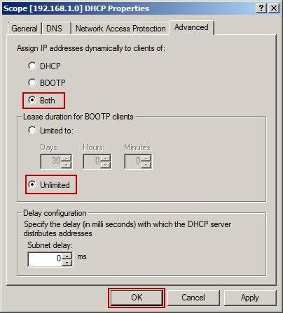 Scope DHCP Properties